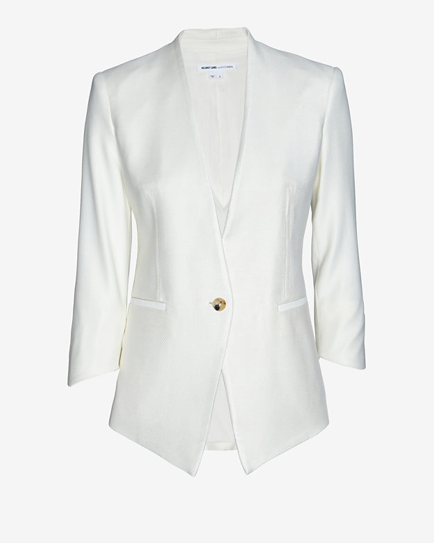 Helmut Lang EXCLUSIVE Linear Drape Leather Detail Blazer