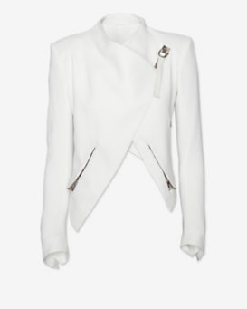 Helmut Lang EXCLUSIVE Python Print Leather Detail Cropped Jacket: White