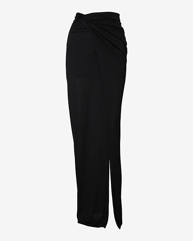 Helmut Lang EXCLUSIVE Asymmetrical Wrap Skirt: Black
