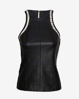 Helmut Lang EXCLUSIVE Python Trim Leather Tank