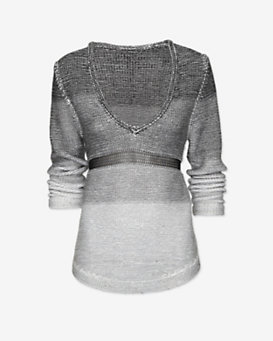 Helmut Lang EXCLUSIVE Plaited Degrade V Neck Sweater