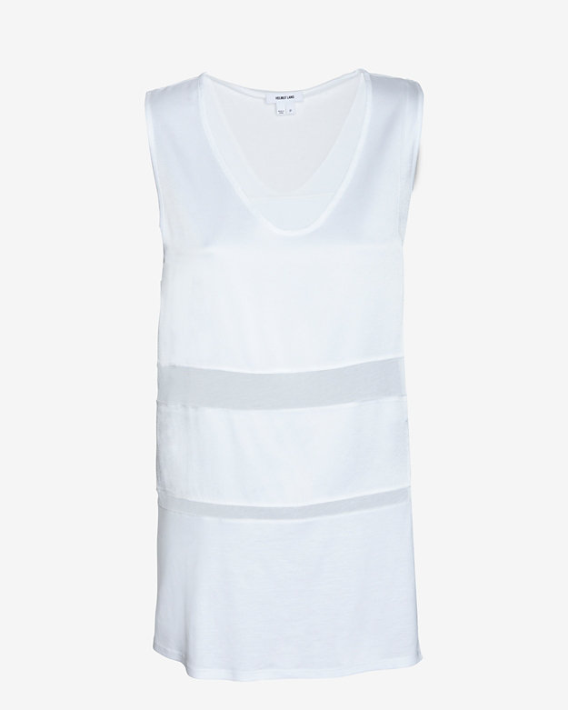 Helmut Lang Horizon Sheer Inset Sleeveless Top