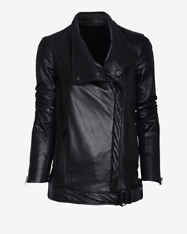 Helmut Lang Cluster Moto Leather Jacket: Black