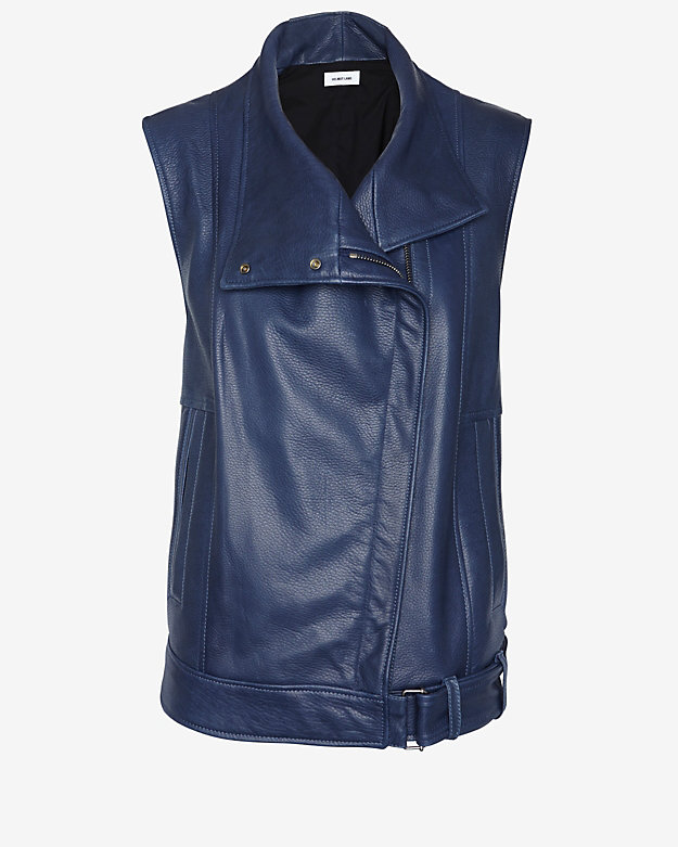 Helmut Lang Cluster Moto Leather Vest: Navy