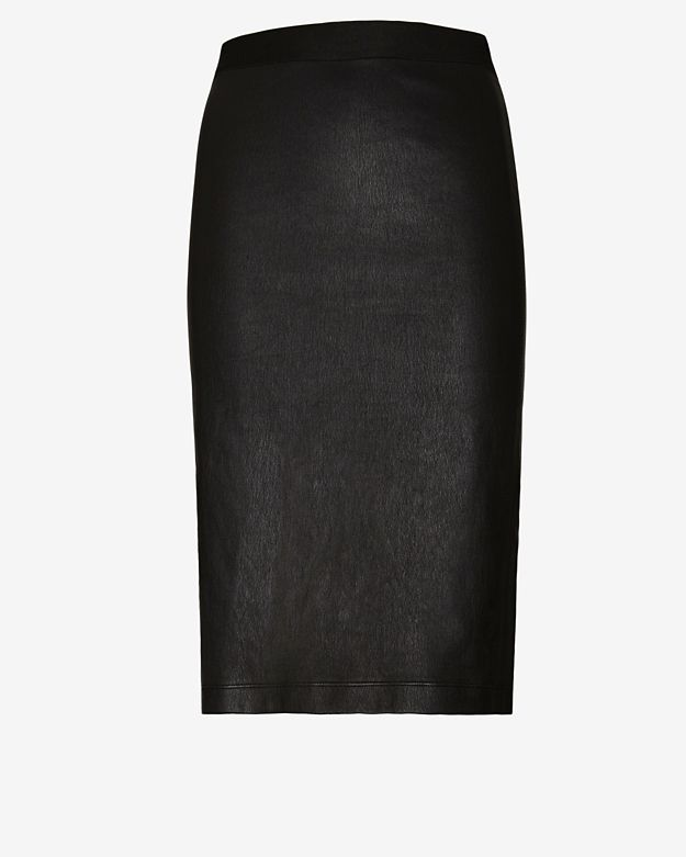 Helmut Lang Stretch Leather Knee Length Skirt