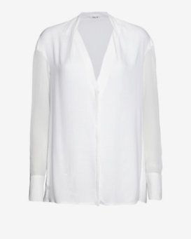 Helmut Lang Draped Long-Sleeve Blouse