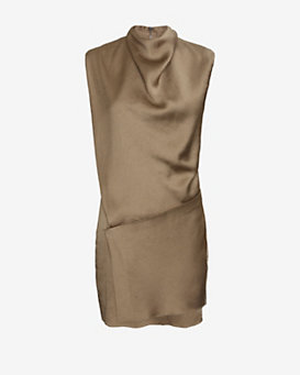 Helmut Lang Draped Neck Silk Dress