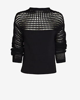 Helmut Lang Micro Grid Crop Sweater