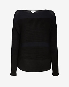 Helmut Lang Baseball Hem Textured Inlay Sweater