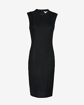 Helmut Lang Trance Frame Leather Detail Textured Dress