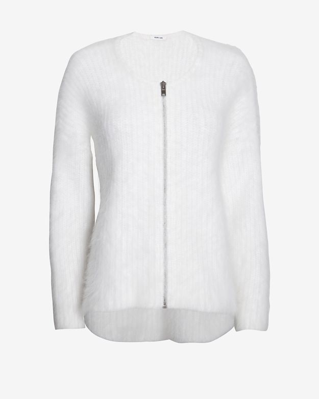 Helmut Lang Veneered Angora Zip Cardi: White