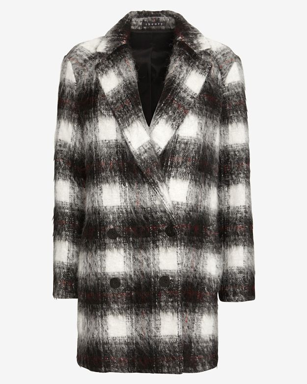 Theory Plaid Mid-Length Coat