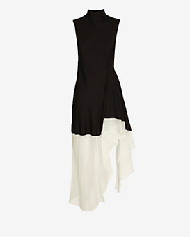 Theory Contrast Hi/Lo Ruffle Dress