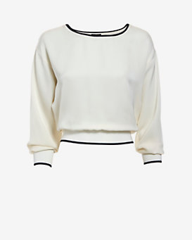 Theory Cropped Modern Silk Georgette Sweater