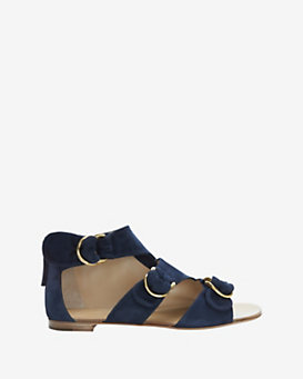 Giuseppe Zanotti Cut Out Gold Buckle Strap Flat Sandal