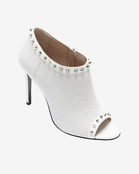 Barbara Bui Perforated Open Toe Stud Bootie: White