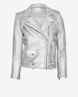 IRO Ebya Moto Leather Jacket: Silver