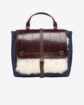 Jerome Dreyfuss Edouard Fur/Denim/Leather Satchel