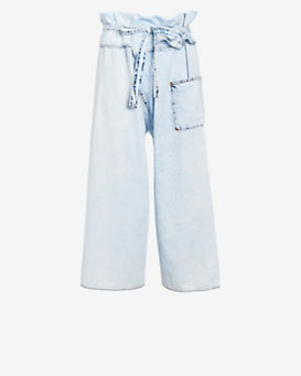 Basic Terrain Eden Fold Over Pant: Bleached Denim