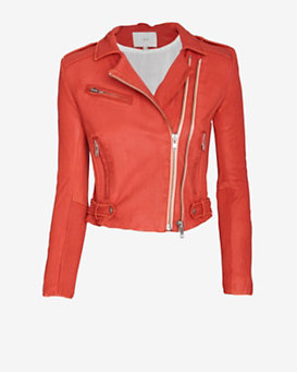 IRO EXCLUSIVE Evana Double Zip Leather Jacket: Rust