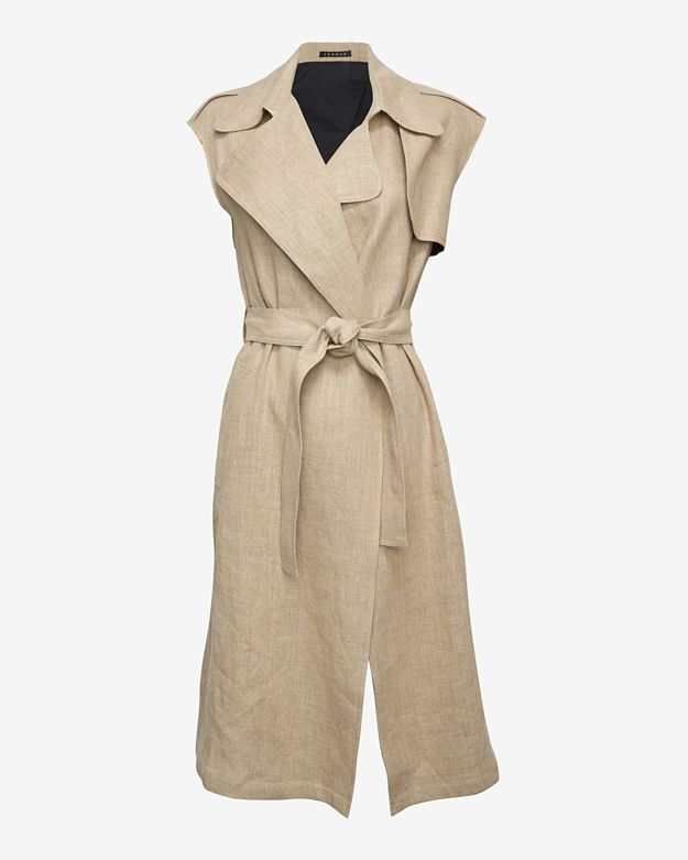 Theory Jiliya Sleeveless Linen Trench Coat