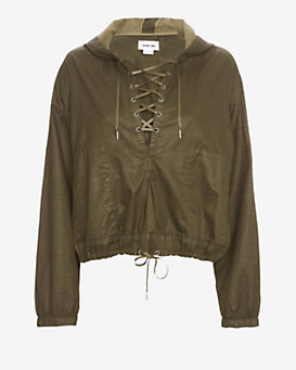 Helmut Lang Hooded Distressed Resin Pullover