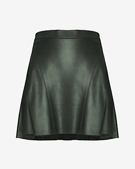 10 Crosby Derek Lam EXCLUSIVE Leather Flare Skirt: Hunter Green