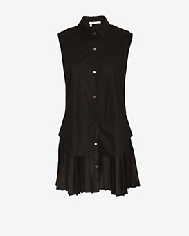 Derek Lam 10 Crosby EXCLUSIVE Pleated Silk Bottom Sleeveless Shirtdress