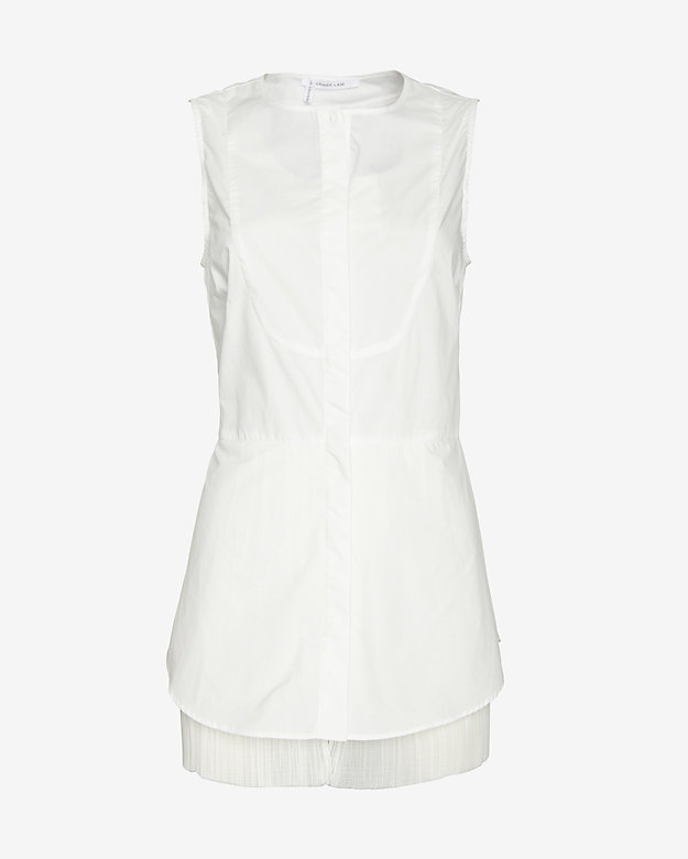 10 Crosby Derek Lam Pleated Hem Sleeveless Shirt