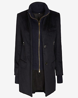 Veronica Beard Classic Dickey Insert Car Coat: Navy