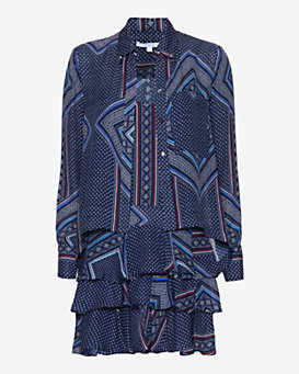 Derek Lam 10 Crosby 2 in 1 Printed Blouse Dress