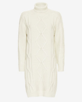 Derek Lam 10 Crosby Cable Knit Turtleneck Dress: Ivory
