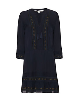 Veronica Beard Katia Embroidered Boho Dress
