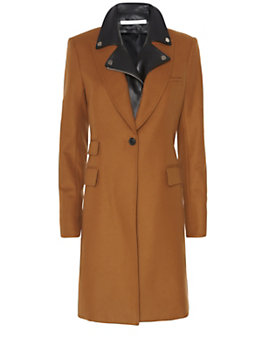 Veronica Beard Chesterfield Leather Dickey Coat