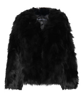 Adrienne Landau EXCLUSIVE Rabbit/Fox Fur Jacket: Black