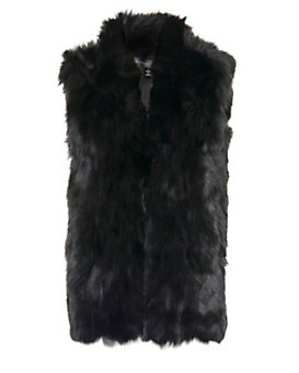 Adrienne Landau EXCLUSIVE Rabbit/Fox Fur Vest: Black