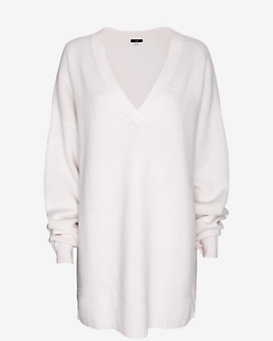 Ji Oh One Size V Neck Sweater: Ivory