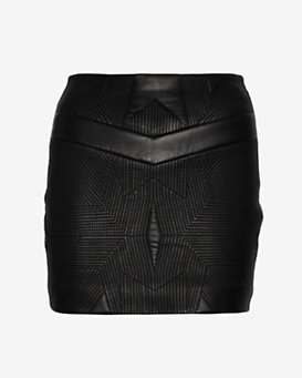 IRO Geometric Stitch Leather Skirt
