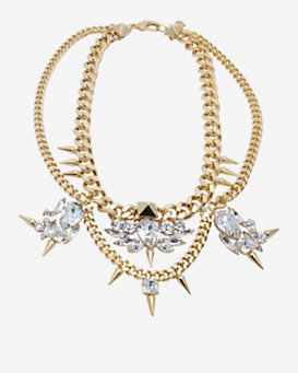 Fallon Classique Bib Chain Necklace:Gold