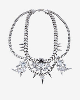 Fallon Classique Bib Chain Necklace: Silver