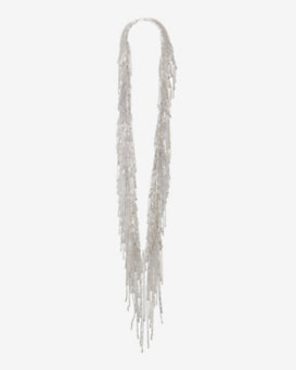 Fallon Classique Long Fringe Necklace: Silver