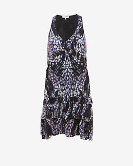 IRO Frigye Printed Silk Ruffle Dress