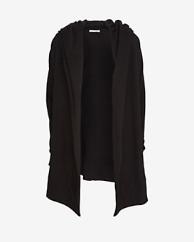 Skin Shawl Collar Sweat Cardi: Black