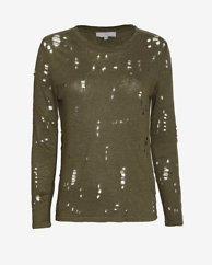 IRO EXCLUSIVE Long Sleeve Tee With Holes: Olive