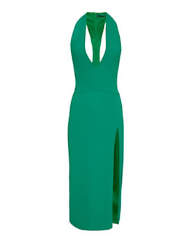Cushnie Et Ochs Side Slit V Neck Dress: Emerald