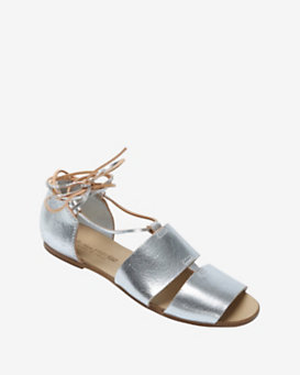 Collection PRIVÉE? Wrap Around Leather Cord Flat Sandal