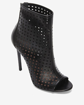 Barbara Bui Perforated Open Toe Bootie: Black