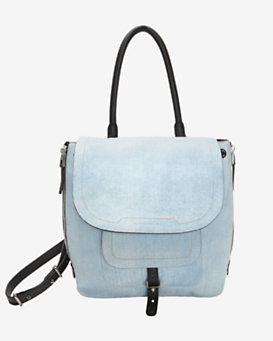 Barbara Bui Zipper Drawstring Shoulder Bag: Denim Blue