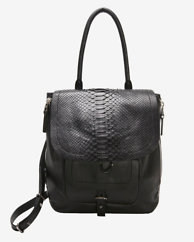 Barbara Bui EXCLUSIVE Python Flap Drawstring Shoulder Bag: Black