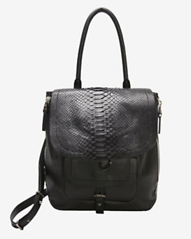 Barbara Bui EXCLUSIVE Python Flap Shoulder Bag: Black